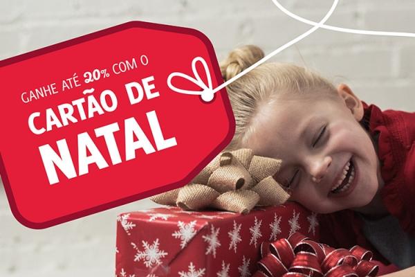 Cartão de Natal oferece 10%, 15% ou 20% de desconto!