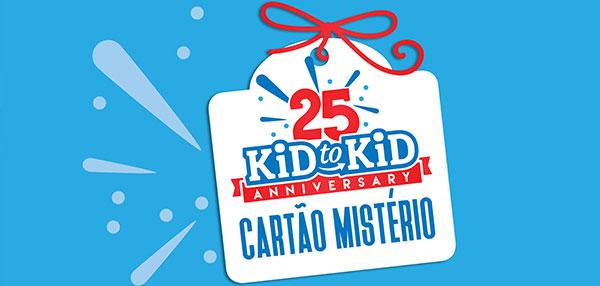 """Ganhe um Cartão Mistério por cada 25€ em compras na sua loja Kid to Kid. Receba o seu cartão de 01 a 30 de Novembro e desconte na mesma loja de 1 a 24 de Dezembro. Todos os cartões """"escondem"""" um prémio de 3€ a 50€! Aproveite esta oportunidade, e ganhe dinheiro para as suas compras de Natal."""